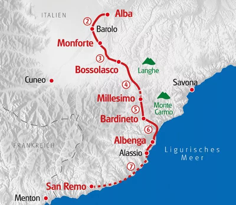 Karte Wanderreise im Piemont und Ligurien