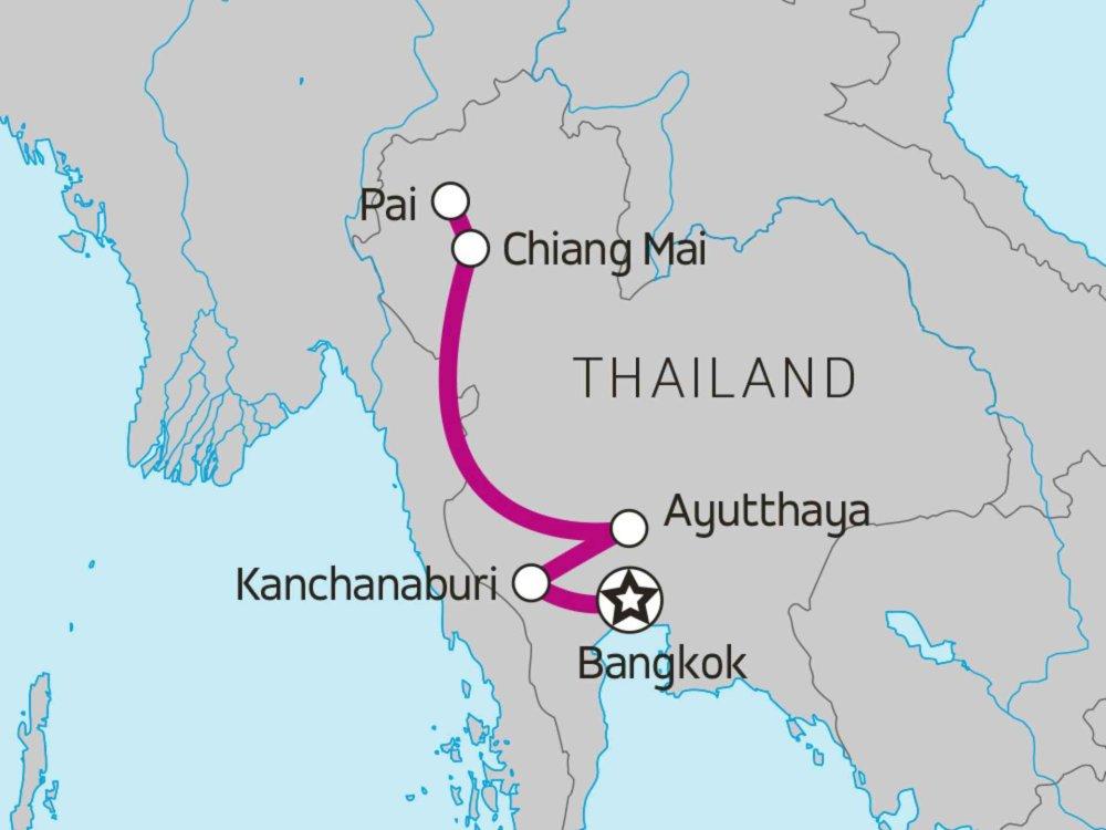 174Y20027 Highlights von Nord-Thailand Karte