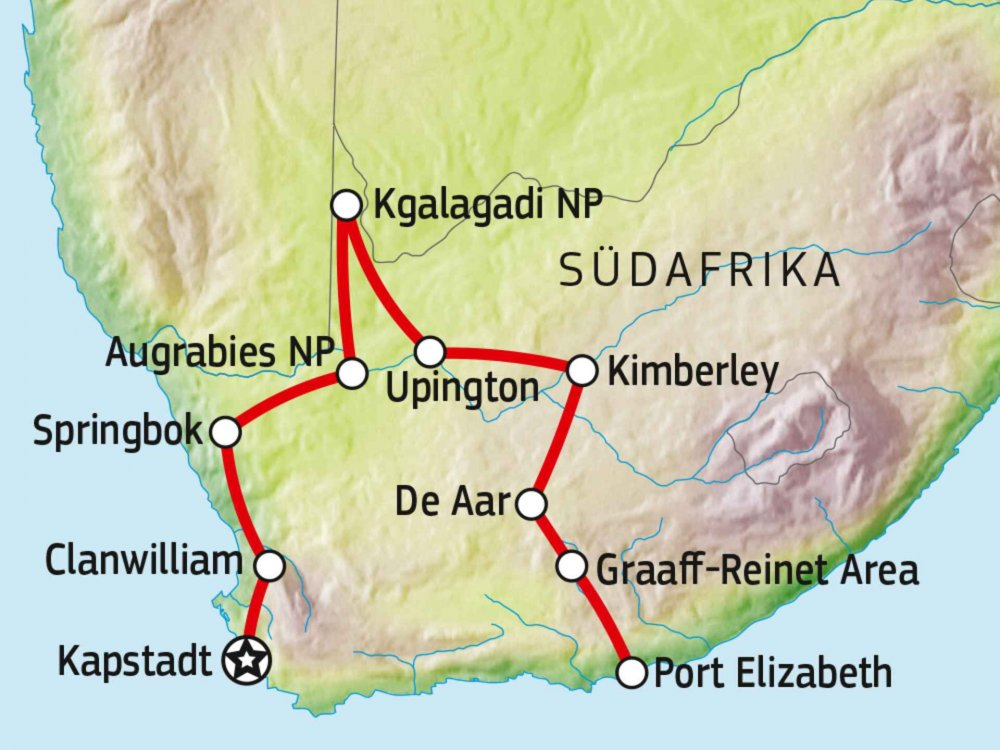 155Y10600 Südafrikas Hinterland entdecken Karte