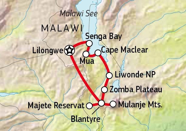 158U11002 Malawi auf eigene Faust Karte