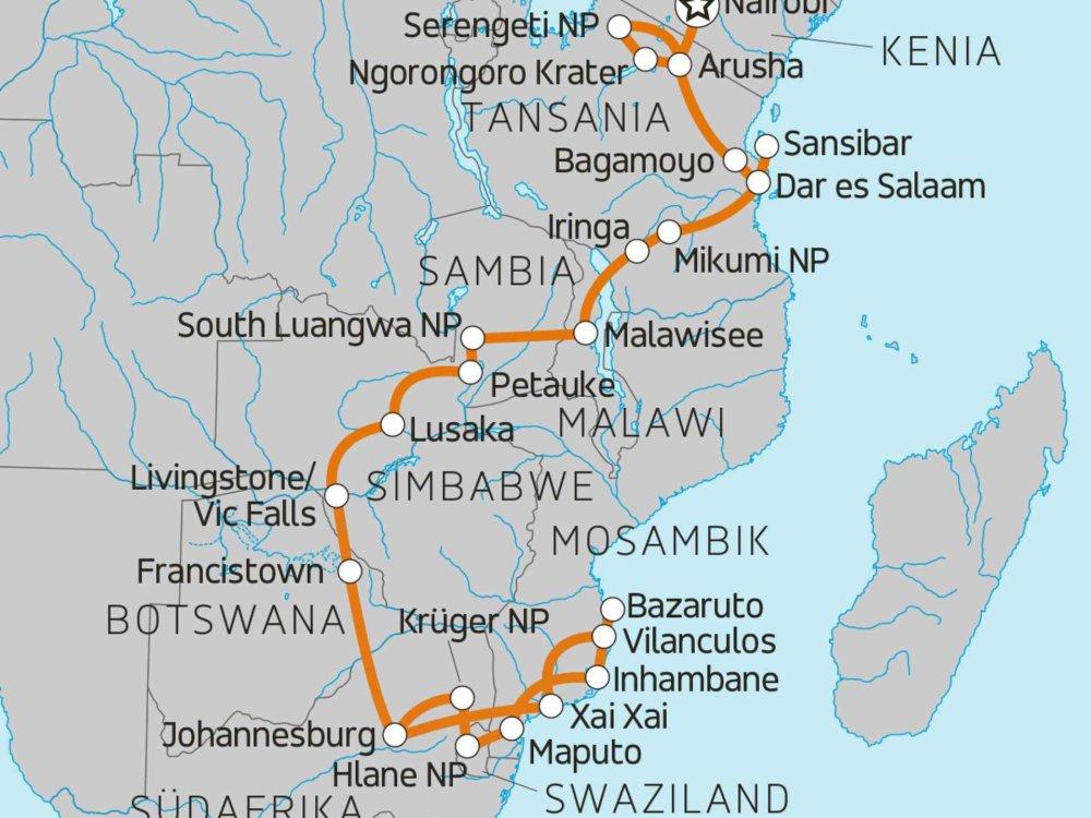 138Y11097 Erlebnisreise Ostafrika & Mosambik Karte