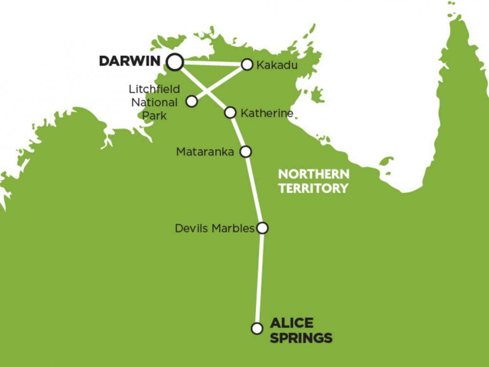 102A10065 Von Darwin nach Alice Springs Karte