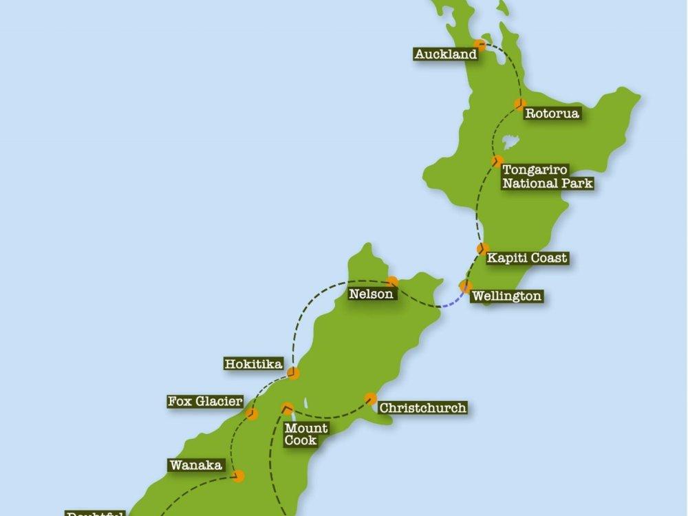 Neuseelands Natur aktiv erleben  Karte