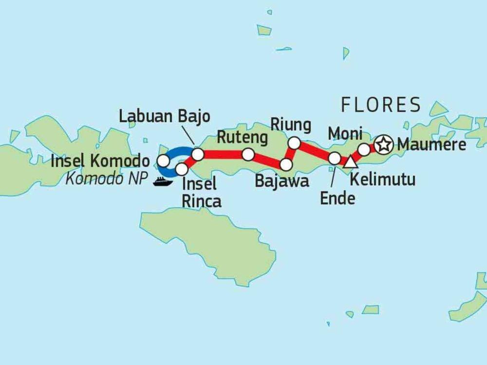 124Y21002 Flores & Komodo intensiv erleben Karte
