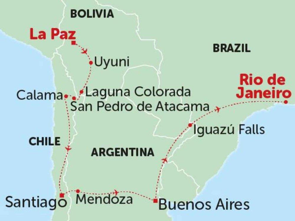 135Y10265 Von Boliviens Salzsee zu Brasiliens Zuckerhut Karte