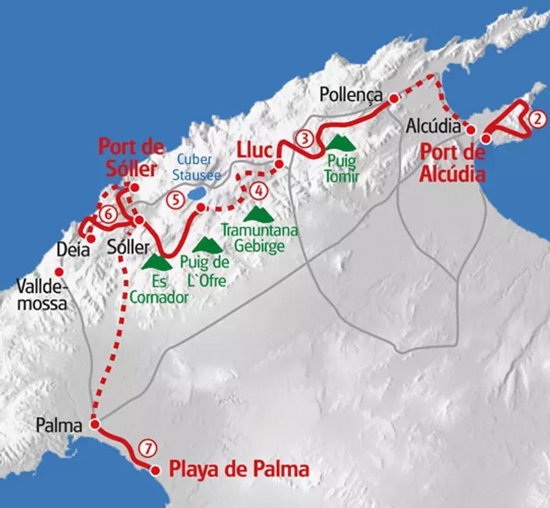 Karte Mallorca Wanderung Tramuntana