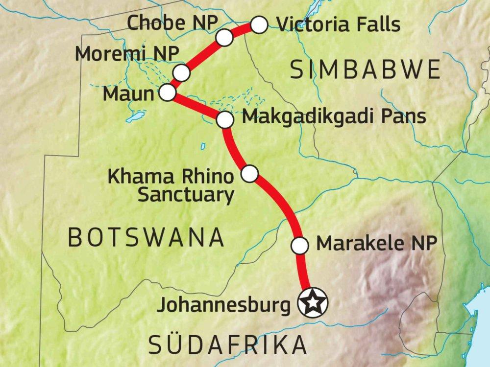 181Y10050 Botswana Safari - Zwischen Chobe, Moremi & Khwai Karte