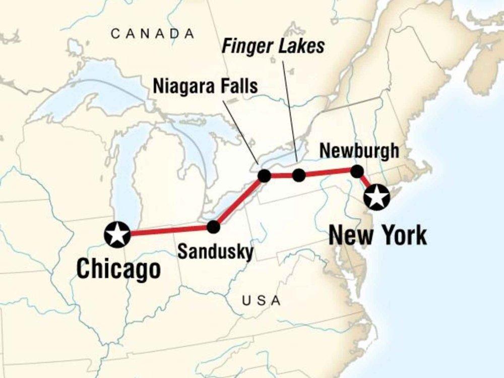 130Y60038 Erlebnistour von New York nach Chicago Karte