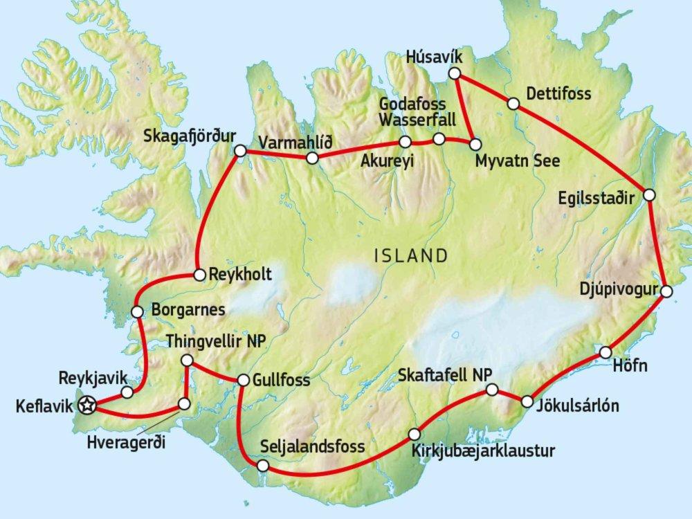 Island Mietwagen-Rundreise Ringstraße Karte