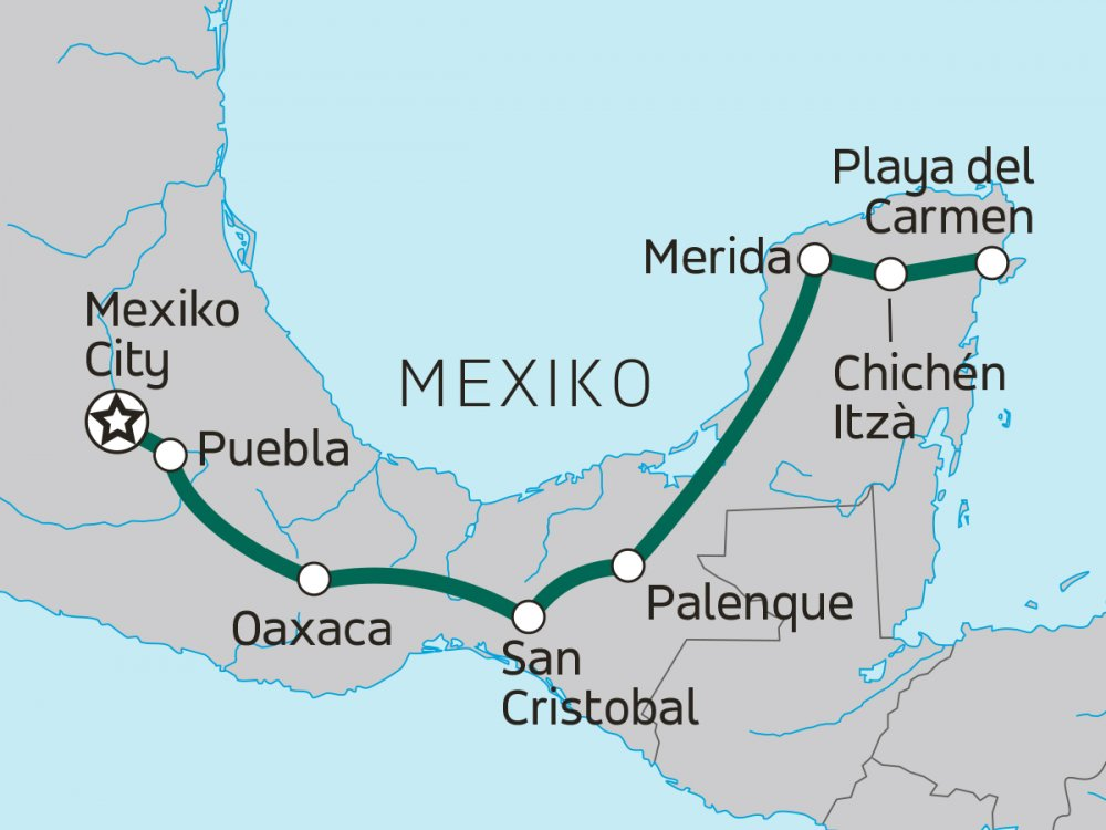 Mexiko Erlebnisreise Karte