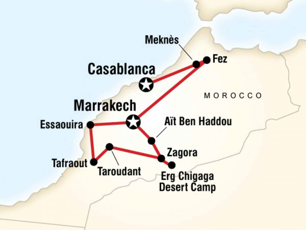 130G35026 Marokko Erlebnisreise Karte