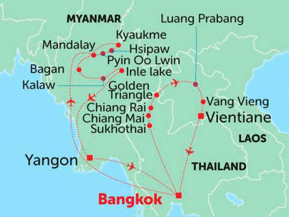 135Y10281 Entdecke Myanmar, Thailand und Laos Karte