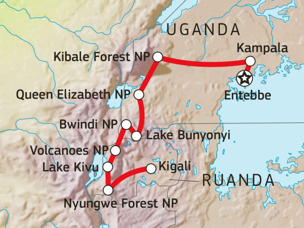 196Y20090 Naturwunder Uganda und Ruanda Karte
