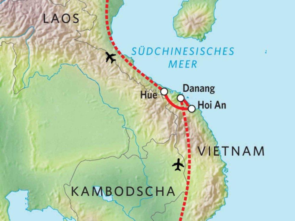 152Y31010 Vietnam Aktivreise von Süd nach Nord Karte