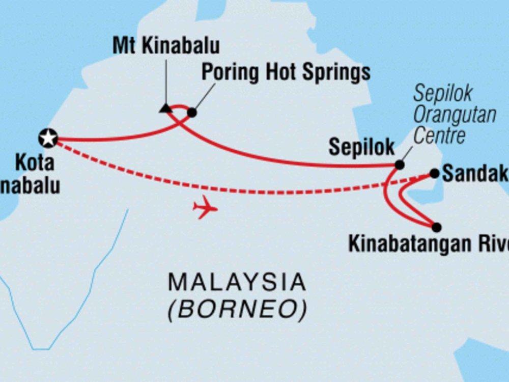 131Y21144 Erlebnisreise Borneo - Abenteuer Sabah Karte