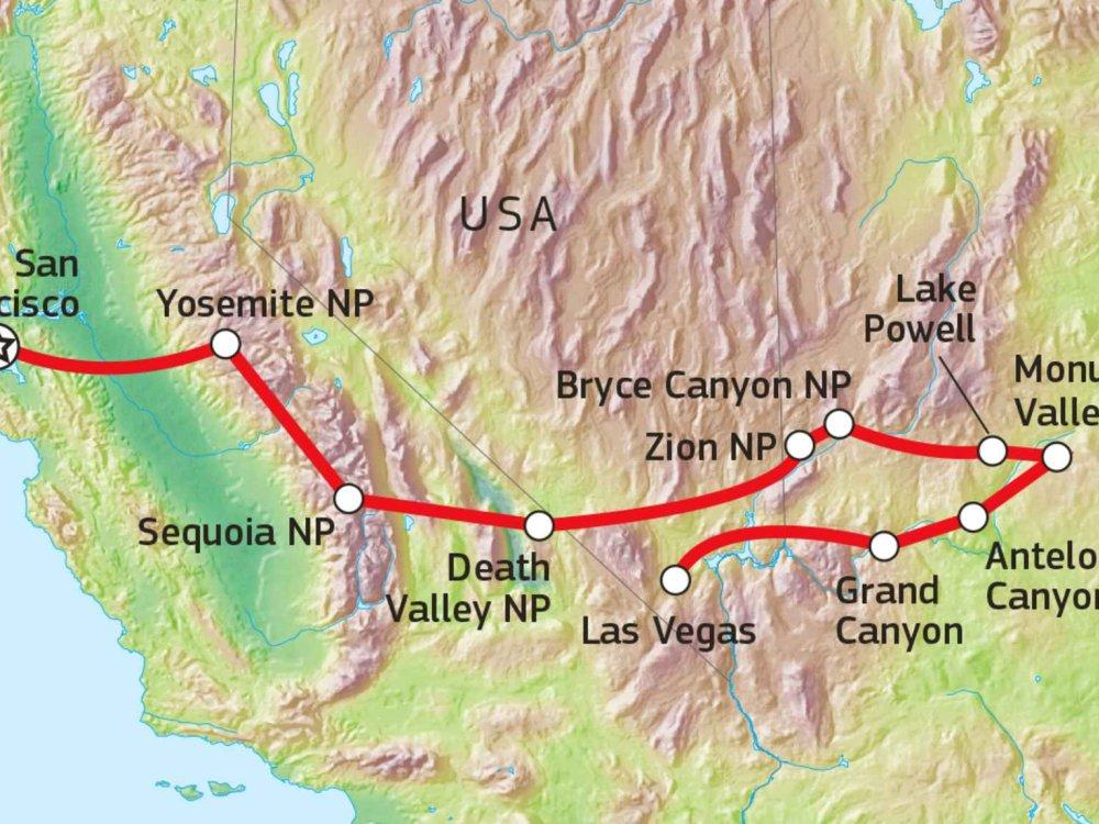 187W11028 Familien-Abenteuer USA Westen Karte