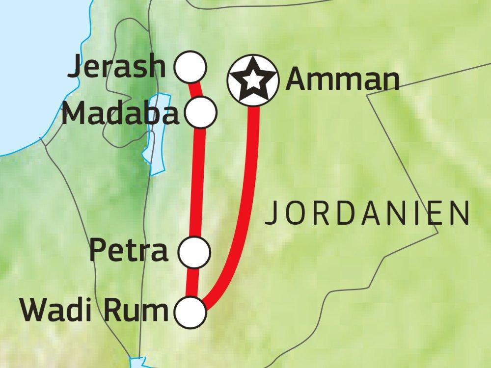 Jordanien Entdeckerreise Karte