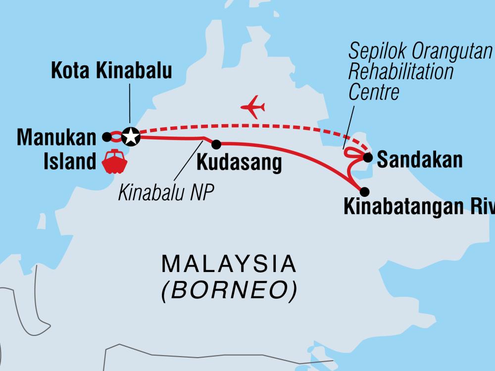Malaysia Höhepunkte Borneo Karte