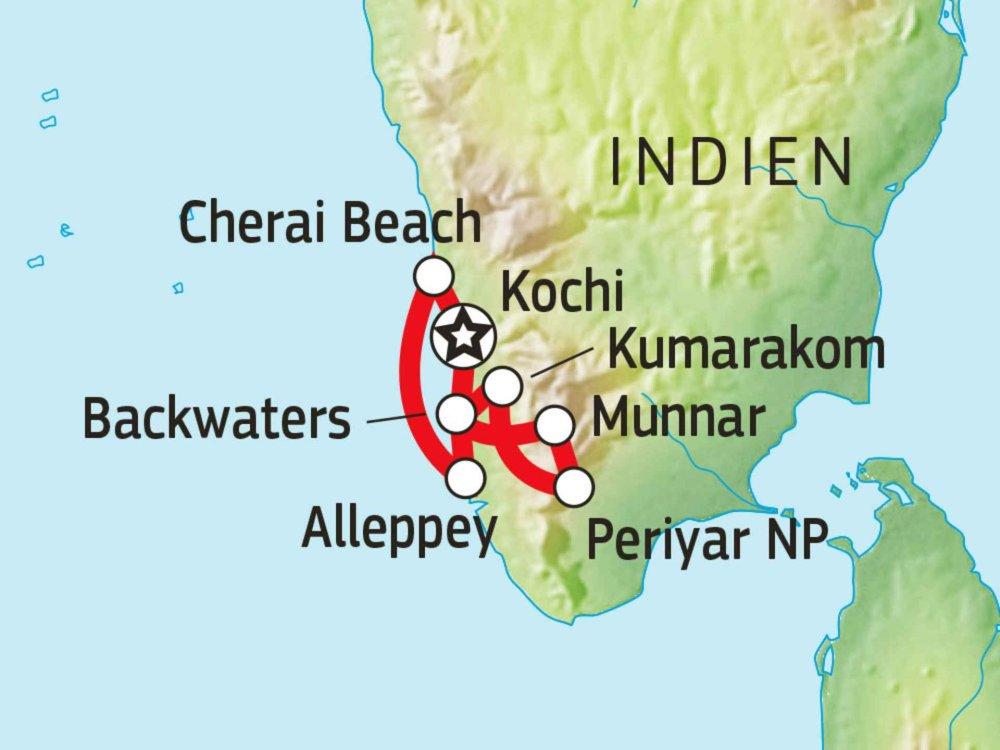 Keralas Naturwunder Karte