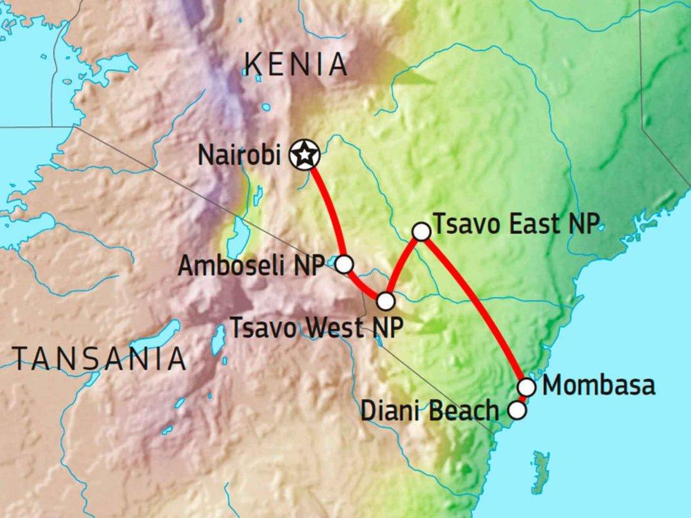 176Y10011 Kenia Wildnis & Strand Karte