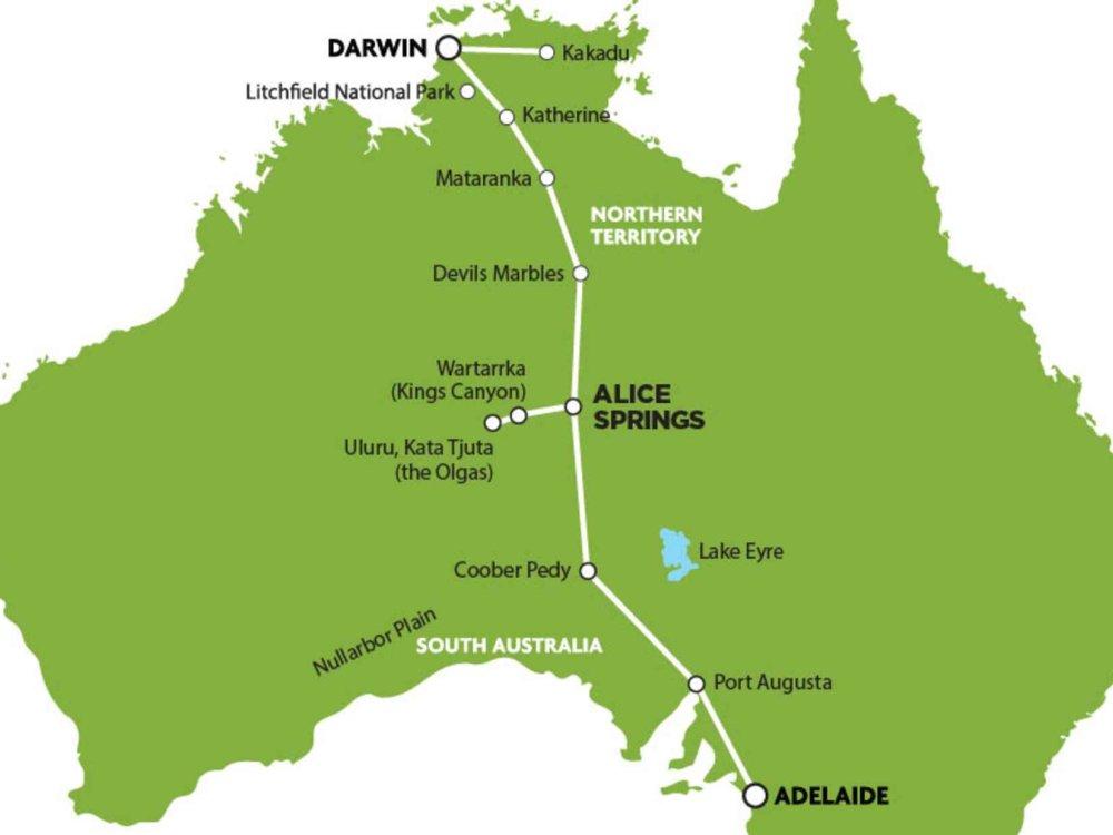 102A10047 Adelaide - Darwin Adventure inkl. Uluru & Kakadu Karte