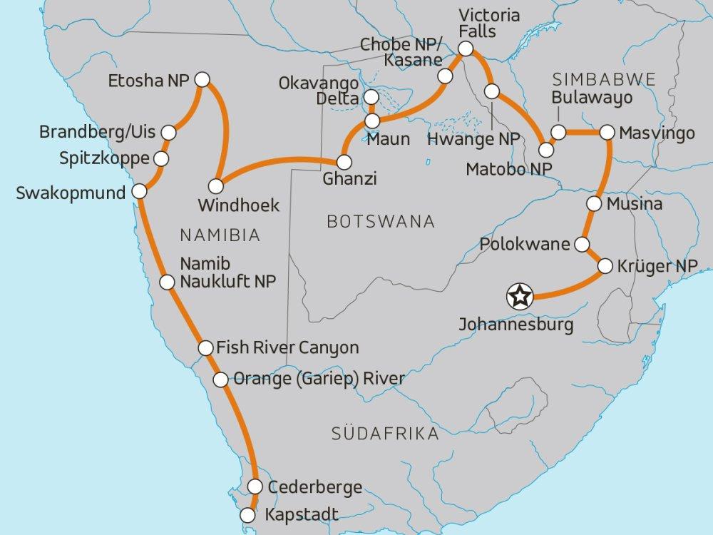 Roadtrip durch das südliche Afrika Karte