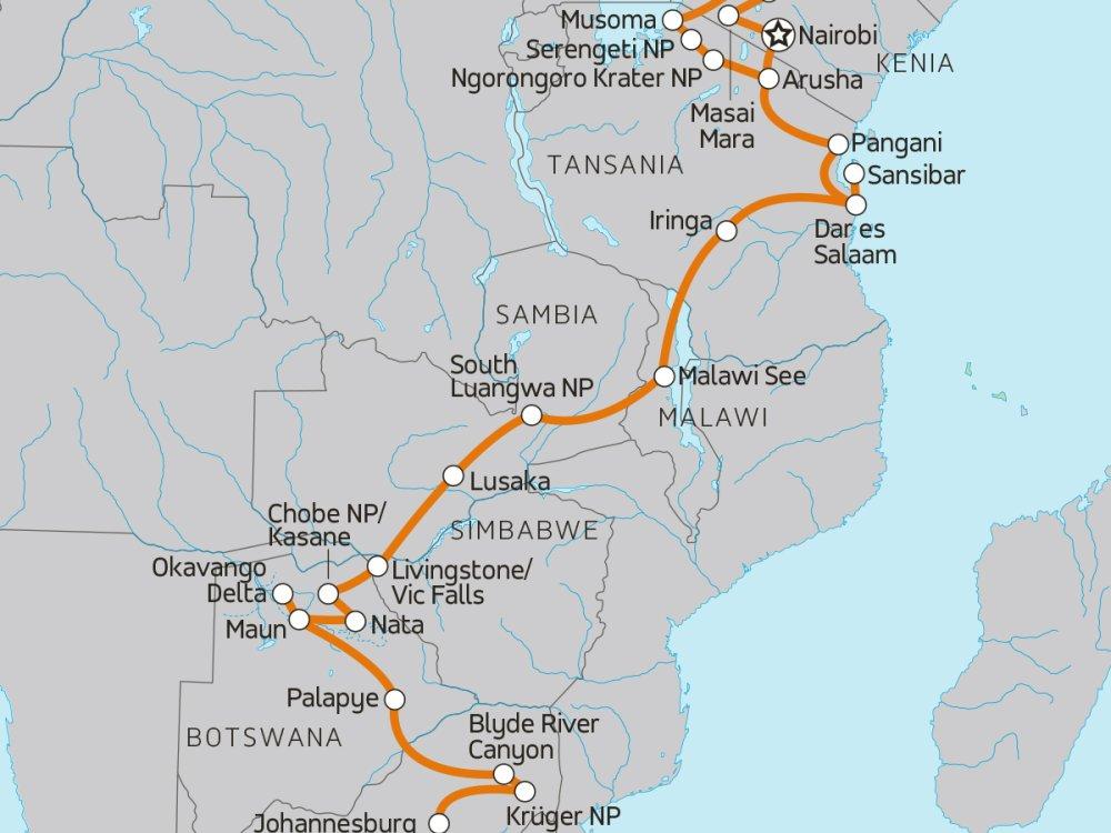 Abenteuerreise durch Afrika - Von Ostafrika nach Südafrika Karte