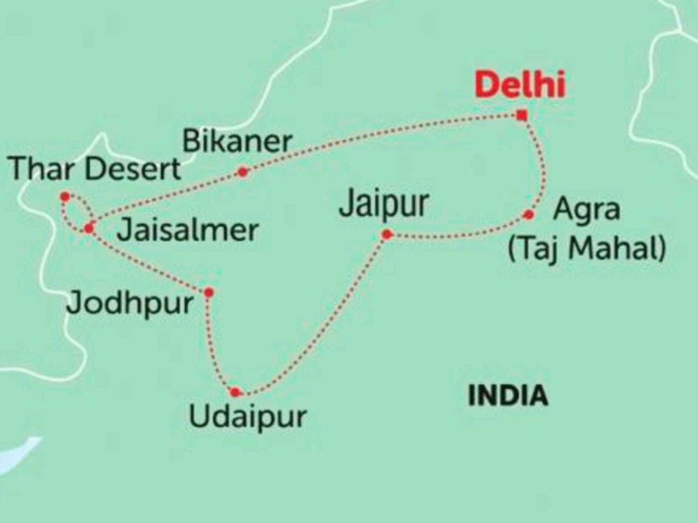 135Y10283 Reizvolles Rajasthan Karte