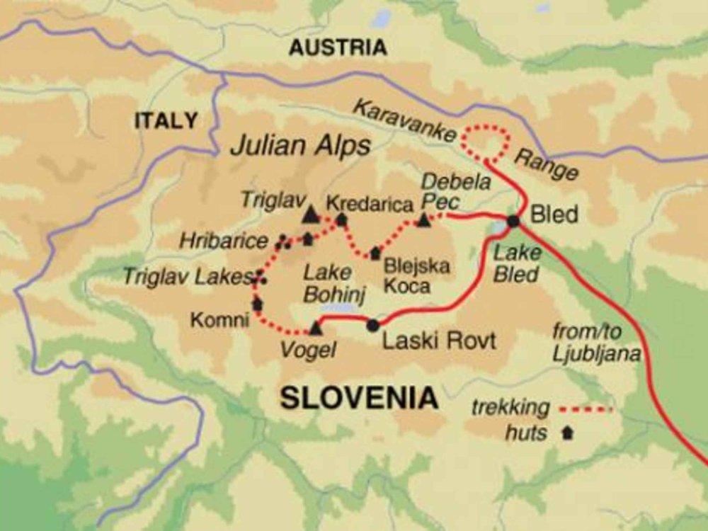 Trekking Julische Alpen Karte
