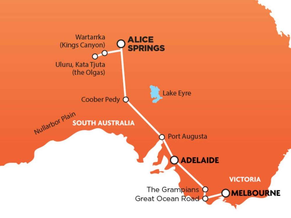 102A10033 Melbourne nach Alice Springs Package Karte