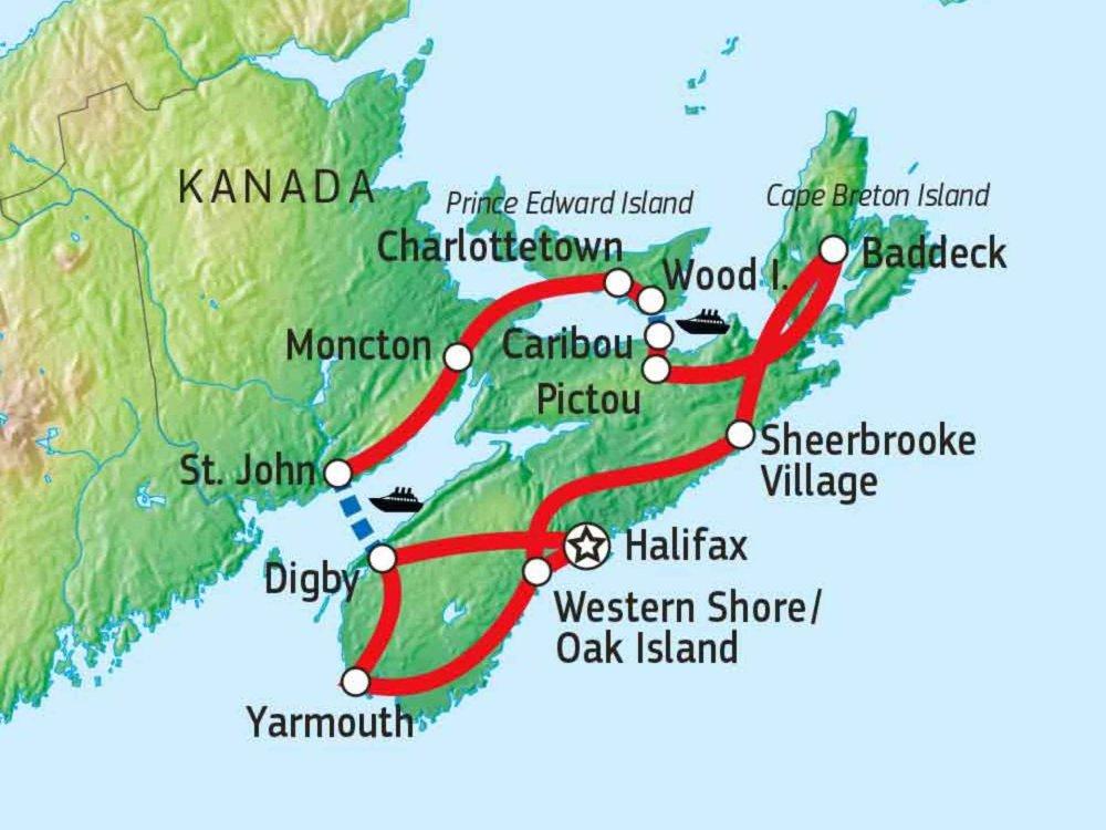 Maritimes - Höhepunkte von Kanadas Atlantikküste Karte