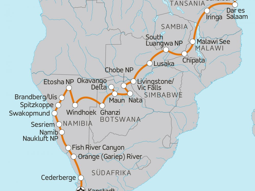 Camping Abenteuer Afrika Karte