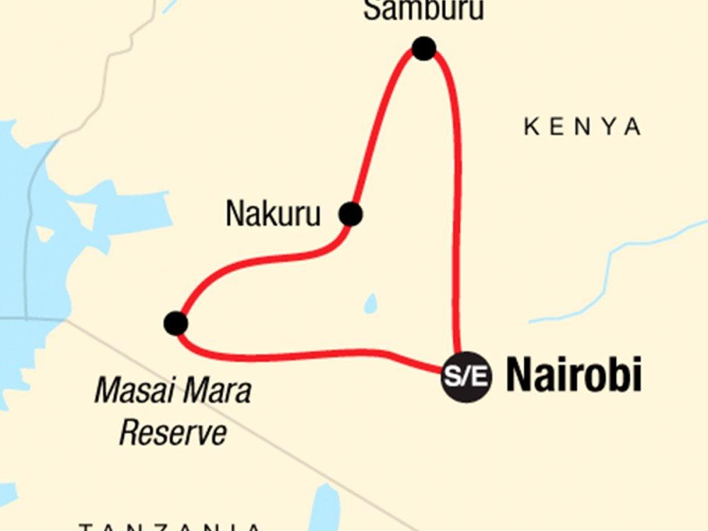 Campingsafari Kenias Nationalparks Karte