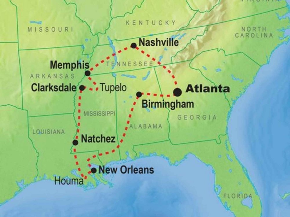 USA Südstaaten intensiv Karte