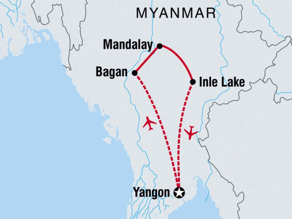 122Y40205 Myanmar Highlights Karte