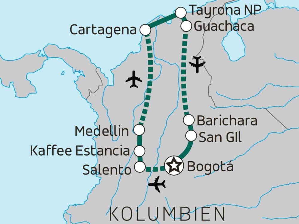 Große Kolumbien Erlebnisreise Karte
