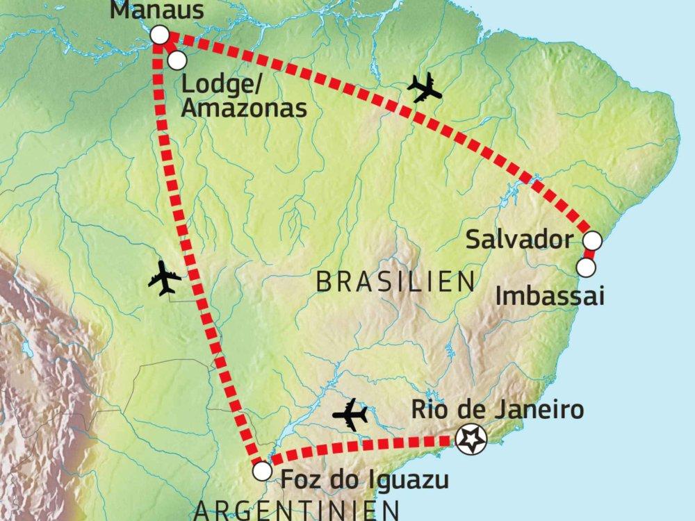 190Y11004 Brasiliens Höhepunkte Karte