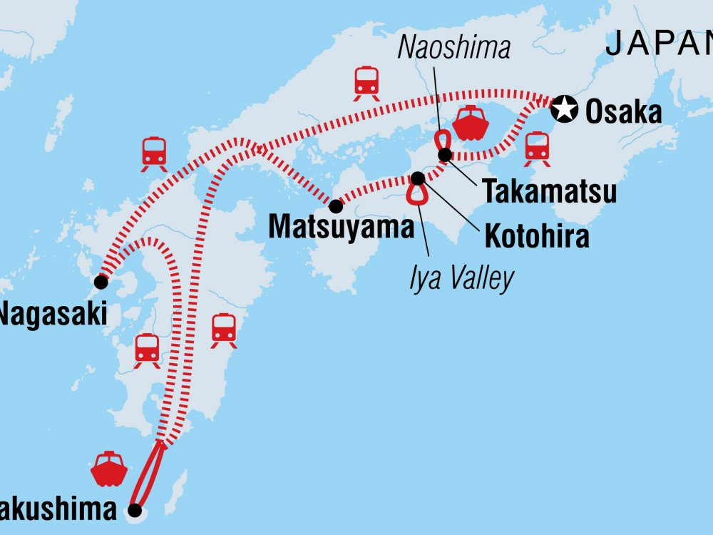Südjapan Erlebnisreise Karte