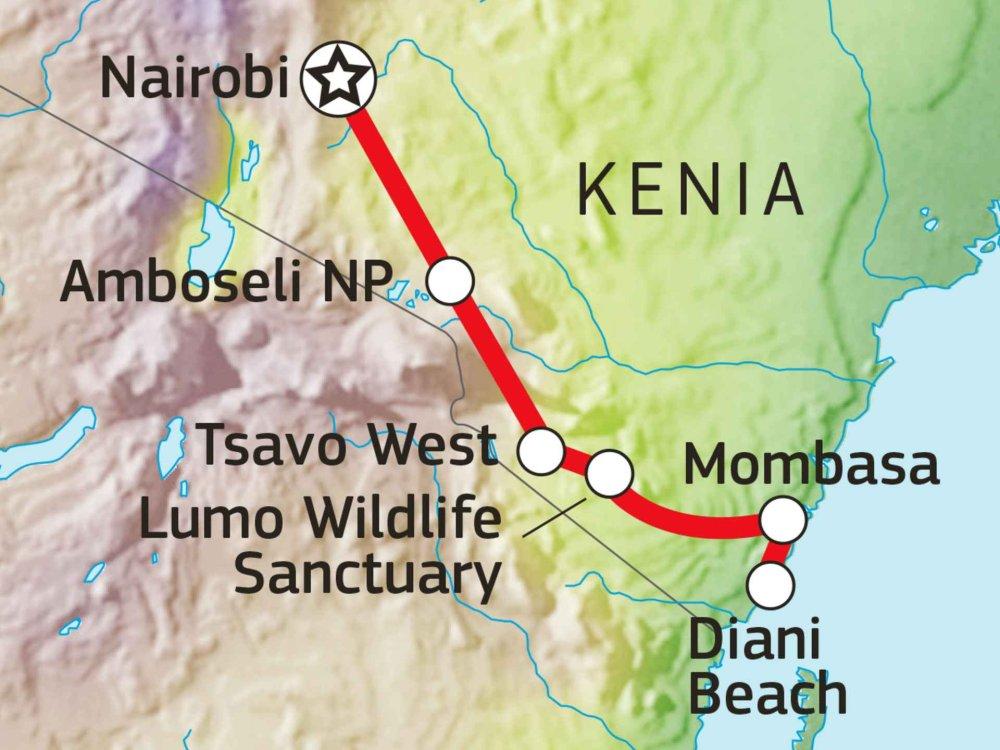 176Y10018 Von der Savanne zum Indischen Ozean Karte