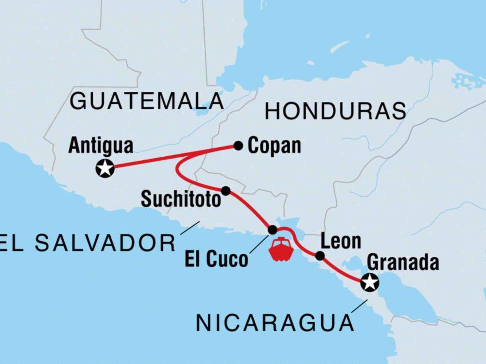 Von Guatemala nach Nicaragua Karte