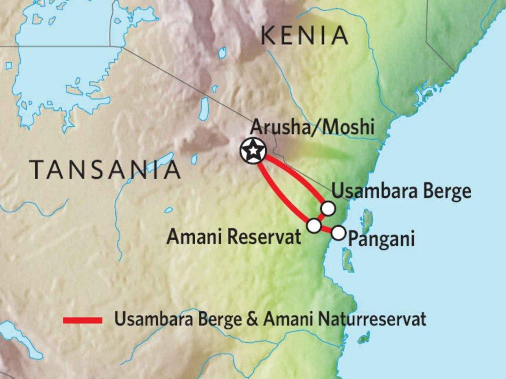 142Y22002 Usambara Berge & Amani Naturreservat Karte