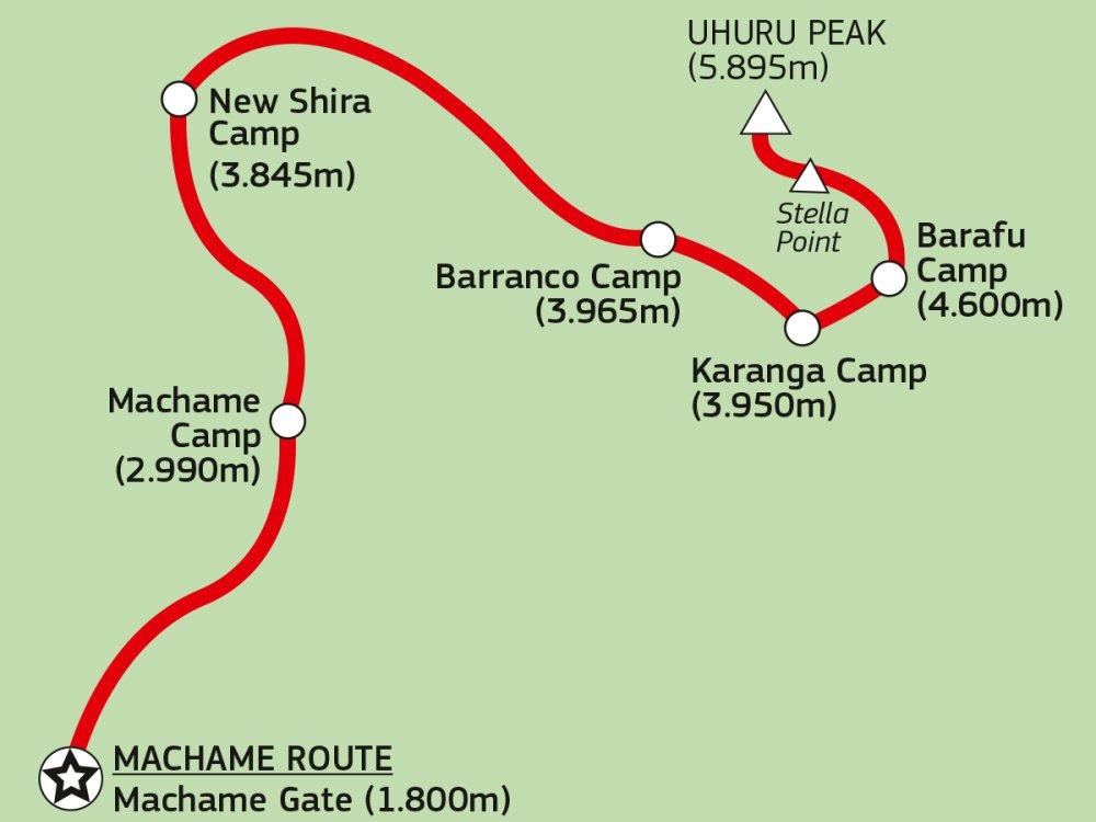 Kilimandscharo Karte Machame Route