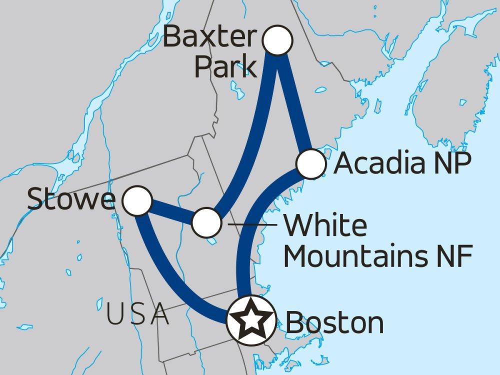 Appalachen & Neuengland Aktivreise Karte