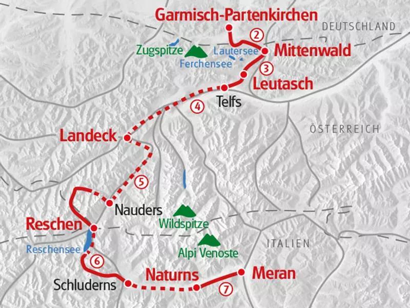 Karte Alpenüberquerung Garmisch nach Meran