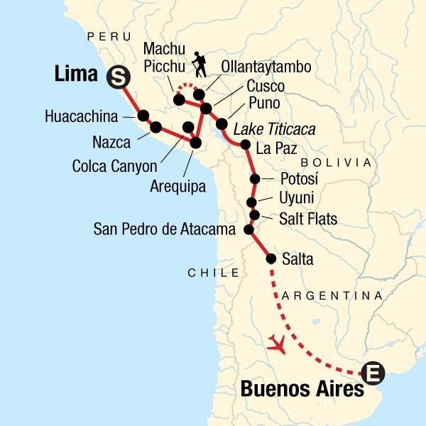 Erlebnisreise durch Südamerika – Von Lima nach Buenos Aires Karte