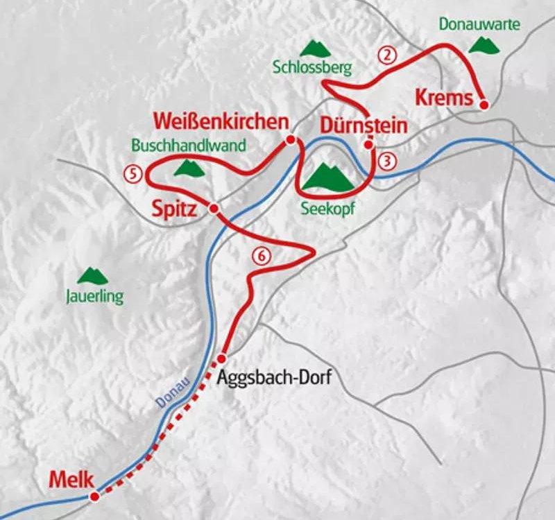 Karte Welterbesteig Wachau