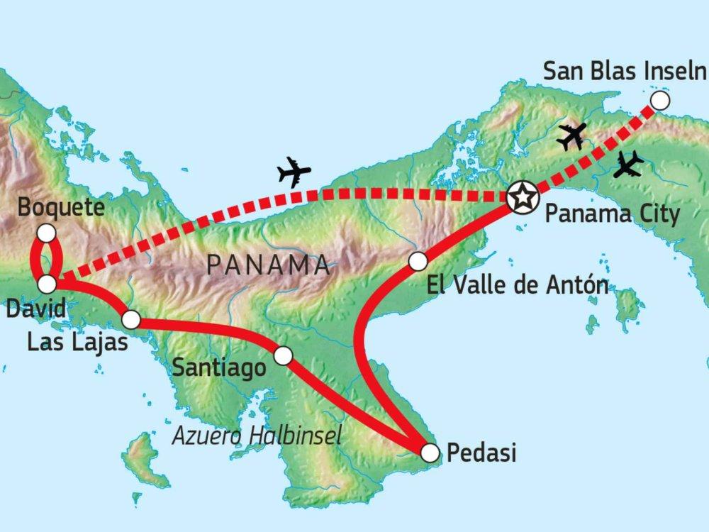 121Y10025 Faszination Panama & San Blas Karte