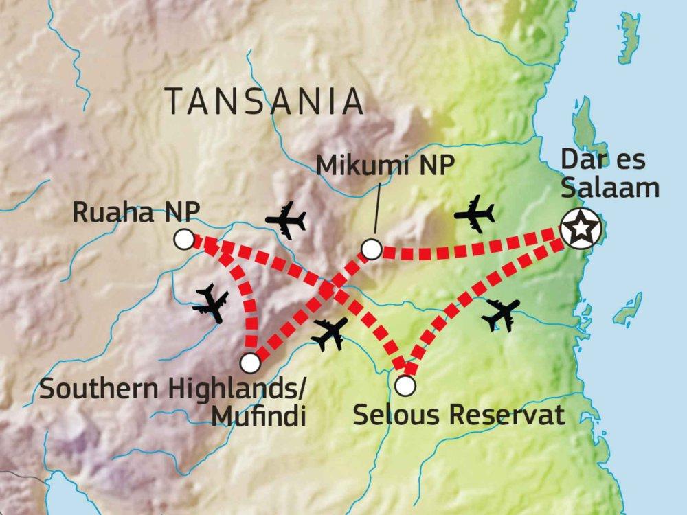 143Y10007 Mikumi, Ruaha, Selous & Southern Highlands Karte