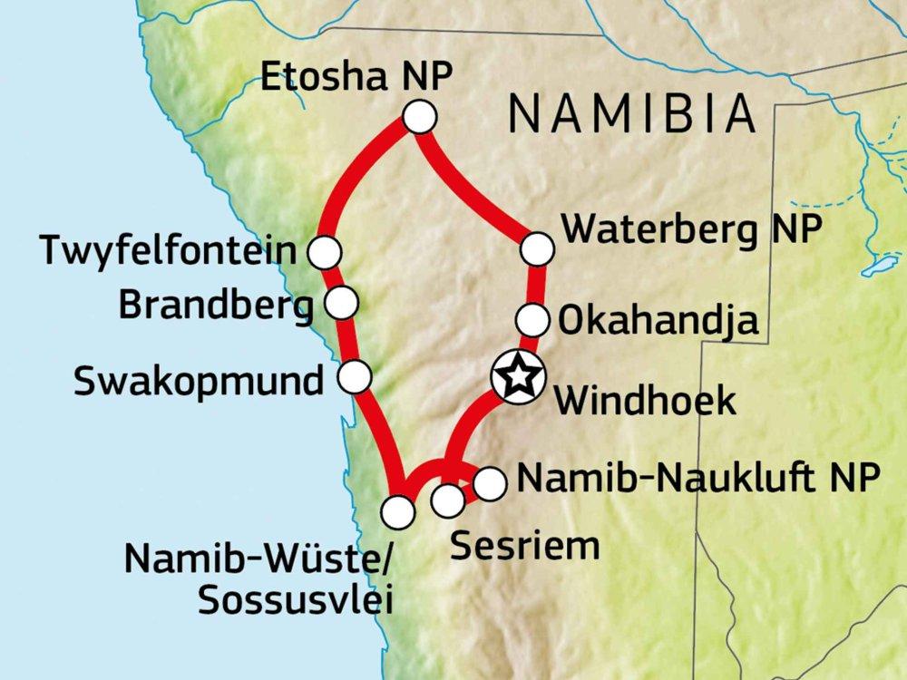 155Y31009 Namibia Abenteuer Familiensafari Karte