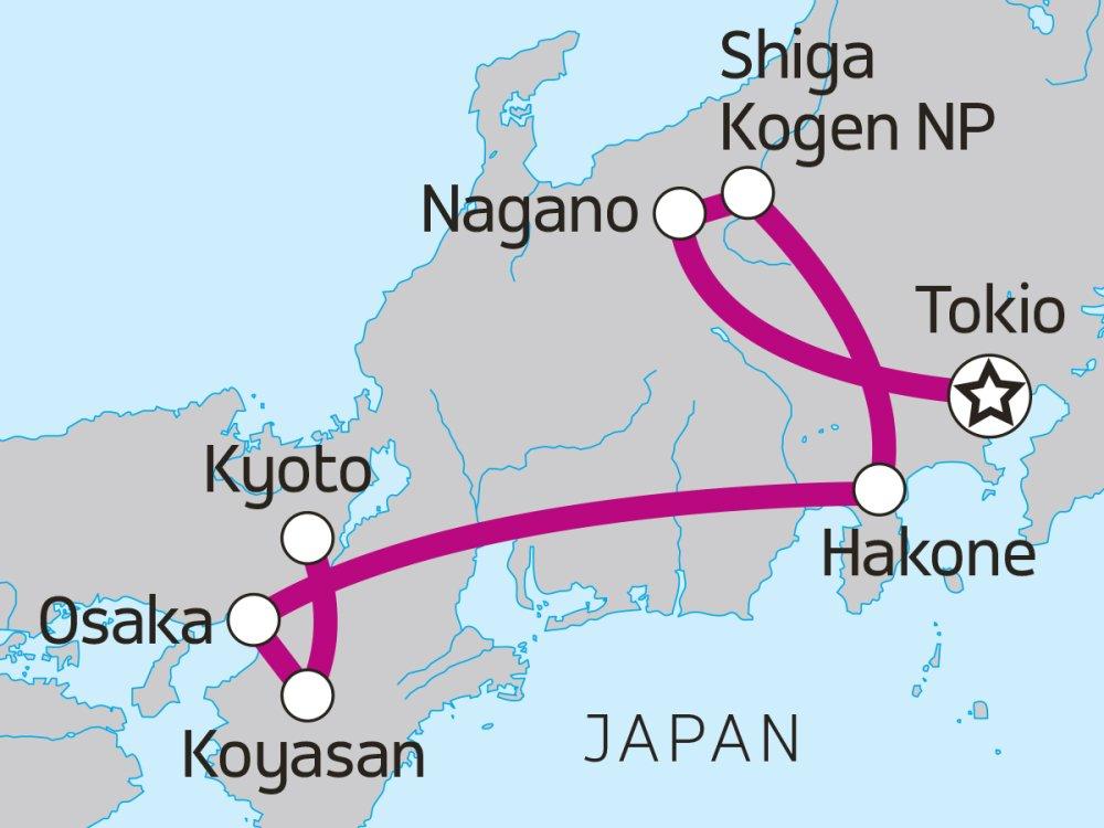 Rucksackreise Japan Karte